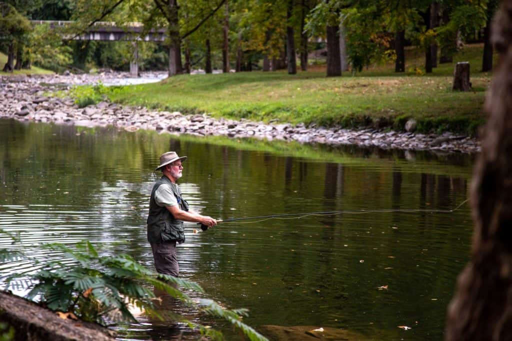 Man fishing in the creek