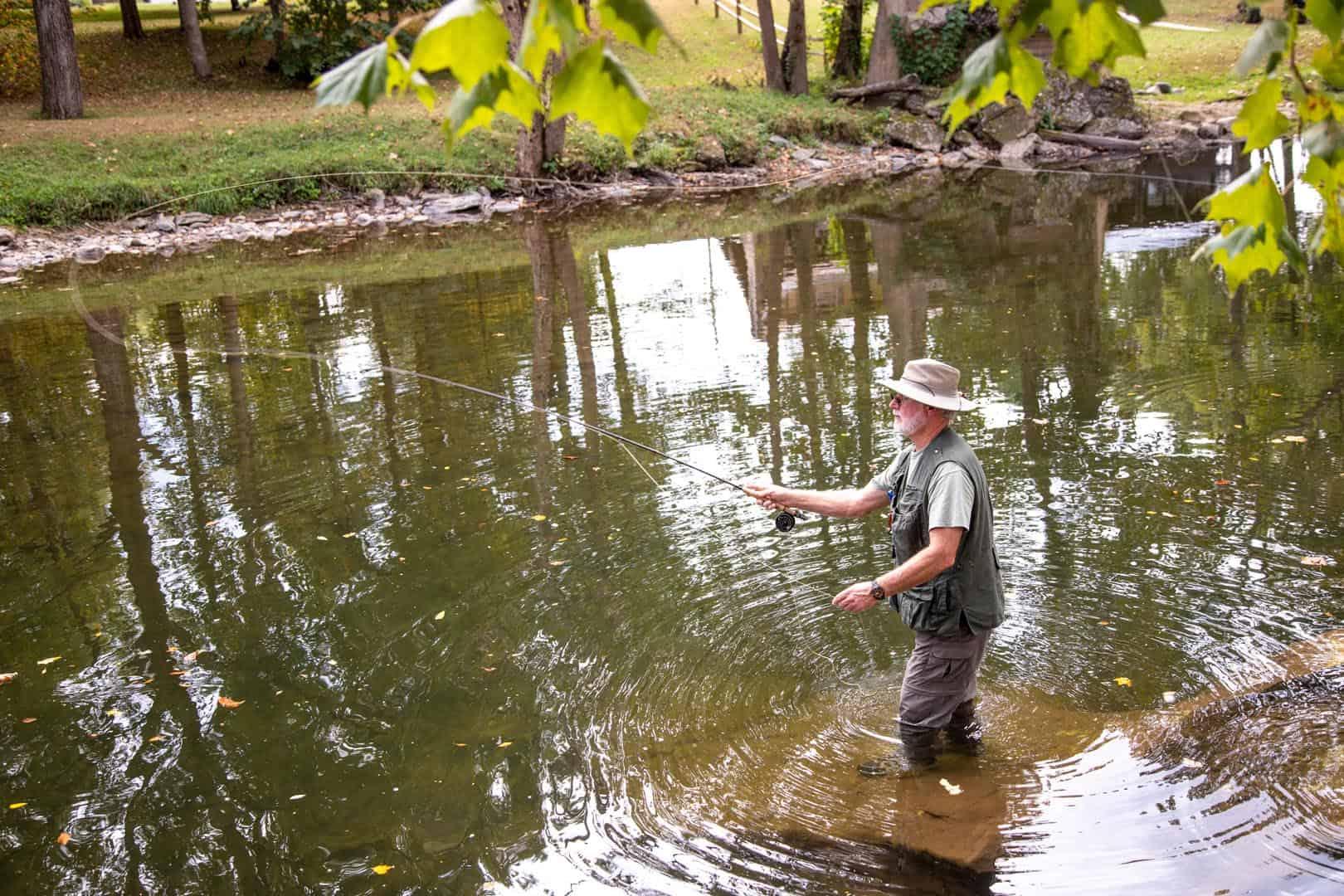 Man fishing in the creek